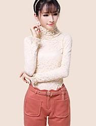 Women's Lace White/Black/Beige Blouse Long Sleeve Lace/Ruffle