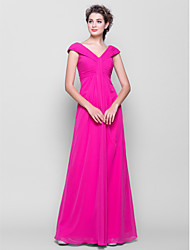 Lanting Bride® Floor-length Chiffon Bridesmaid Dress - Sheath / Column V-neck Plus Size / Petite with Side Draping / Ruching