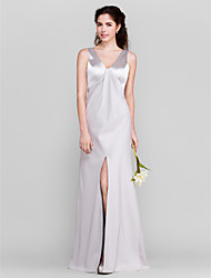 LAN TING BRIDE Floor-length V-neck Bridesmaid Dress - Furcal Sleeveless Stretch Satin
