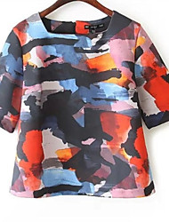 Women's Casual/Daily Simple Spring T-shirt,Print Square Neck Short Sleeve Multi-color Polyester Medium
