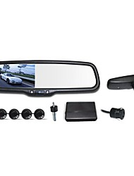 "12V 4 Parking Sensors 4.3"" LCD Display Camera Video Car Rearview Mirror Reverse Radar System"