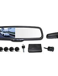 """12v 4 capteurs de stationnement 4,3 """"LCD miroir voiture caméra de recul reverse système radar"""
