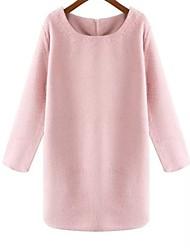 женская круглым воротом розовый шоу тонкая ткань платья