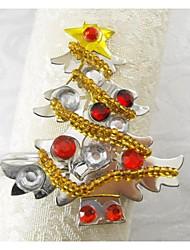 Colorfull Snowflake Christmas Tree Napkin Ring Many Colors, Acrylic, 4.5CM, Set of 12