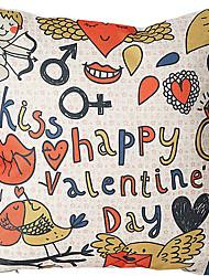 coton jour / lin imprimé taie d'oreiller décoratif de valentine heureux