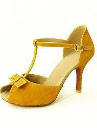 Customizable Women's Dance Shoes Latin/Salsa Flocking Customized Heel Black/Yellow/Red