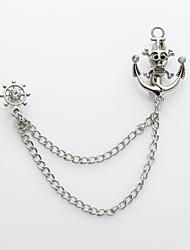 cráneo ancla pirata traje rueda solapa ramillete cadena broche