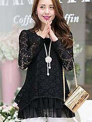 Women's Lace White/Black/Beige Shirt , Round Neck Long Sleeve