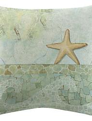 Sea Star Pattern Cotton/Linen Printed Decorative Pillow Cover