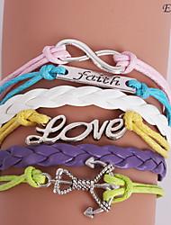 eruner®leather браслеты многослойный красочные сплава прелести браслеты ручной работы