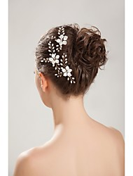 Women's Flower Girl's Rhinestone Crystal Imitation Pearl Headpiece-Wedding Special Occasion Outdoor Hair Combs Hair Pin