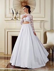 Homecoming A-line/Princess Wedding Dress - White Floor-length Jewel Lace/Taffeta