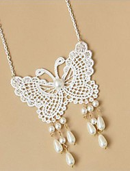 Handmade White Lace Butterfly with Beads Classic Necklace