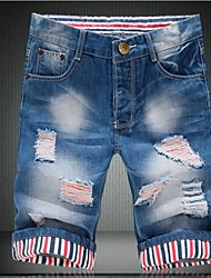 Men's Casual Lost Section Of Hole Flanging Denim Shorts