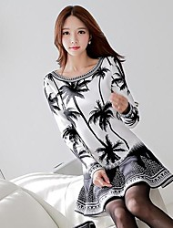 Women's Formal Dress,Print Above Knee Long Sleeve White Polyester / Spandex Spring / Fall / Winter