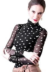 Women's Polka Dot Blue/White/Black/Green T-shirt , Turtleneck Long Sleeve