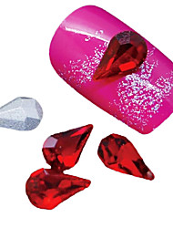 10PCS  Red Pointed Back Water Drop Glass Glitter Rhinestone Nail Art Decoration