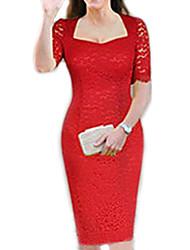 moda lace ocasional vestido cabido das mulheres Monta