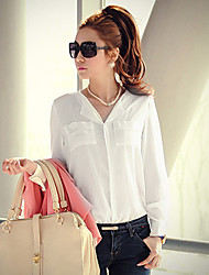 V Neck Leisure Chiffon Shirt