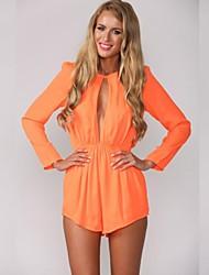 Women's Blue/Orange Jumpsuits , Casual Long Sleeve