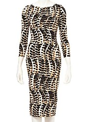 Women's Bodycon Dress,Animal Print Round Neck Knee-length ½ Length Sleeve Cotton / Polyester Fall