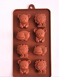 8 trous de moules à chocolat ours gâteau de forme de la glace gelée, silicone 21 × 11,3 × 2,2 cm (8,3 × 4,5 × 0,9 pouces)