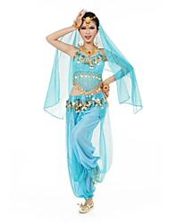 Belly Dance Women's Fashion Halter Tassel Chiffon Performance Outfit Including Top/Bottom/Veil(More Colors)
