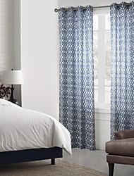 neoclássicos um painel de cortinas de painel de poliéster geométrico azul bedroom cortinas