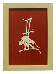 Manual Sculpture Chinese Traditional Culture Chinese Zodiac Cow Wood Framed Ready to Hang