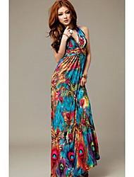 vestido de estampado floral bohemio de moda de miel de las mujeres