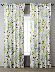 TWOPAGES® Two Panels  Hazy Oil Painting Style Forget-Me-Not Floral Curtain