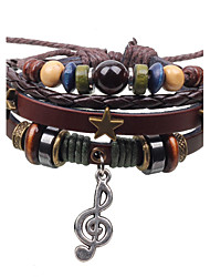 Fashion Vintage Punk PU Leather Bracelets Hand-woven Wood Beads Pentagram Musical Note Pendant Charm Bracelet