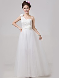 A-line Floor-length Wedding Dress -One Shoulder Lace