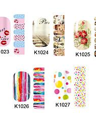 14PCS nail art adesivos k no.1023-1027 série (padrão sortidas)