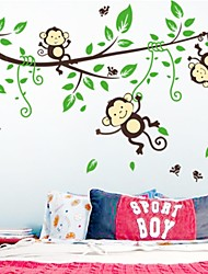 Wall Stickers Wall Decals, Lovely Monkey Climbing Tree PVC Wall Stickers