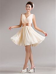 Bridesmaid Dress Short/Mini Chiffon A-line V-neck Dress