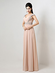 Formal Evening Dress - Lace-up A-line Off-the-shoulder Floor-length Chiffon with Beading