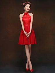A Line/Princess Halter High Neck Knee Length Chiffon Bridesmaid Dress
