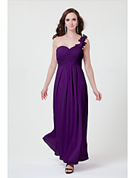 Floor-length Chiffon Bridesmaid Dress Sheath/Column One Shoulder