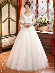 A-line V-neck Lace And Tulle Court Train Wedding Dress