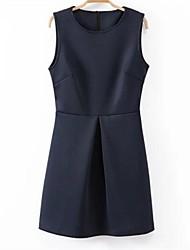 Women's Round Collar Collect Waist Sleeveless Dress