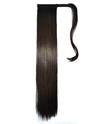 bandes cravate extensions synthétiques postiches droites (brun noir)