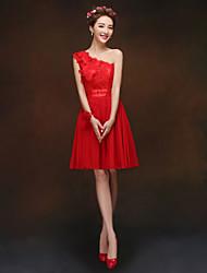 A Line/Princess One Shoulder Knee Length Chiffon Bridesmaid Dress