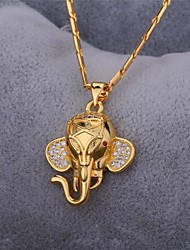 U7® Cute Elephant Pendant Necklace 18K Real Gold Platinum Plated Cubic Zirconia Necklace Pendant Fashion Jewelry