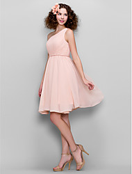 LAN TING BRIDE Knee-length Chiffon Bridesmaid Dress - A-line One Shoulder Plus Size / Petite with Side Draping
