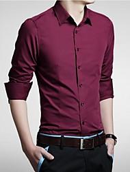 estilo minimalista cor sólida camisa de manga longa para homens