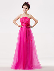 Floor-length Strapless Bridesmaid Dress - Floral Sleeveless Lace Tulle