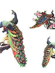 1Pc Waterproof Multicolored Peacock Pattern Tattoo Sticker