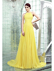 Formal Evening Dress Sheath / Column High Neck Chapel Train Chiffon with Draping / Side Draping