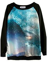 galáxia de manga comprida camisola de impressão digital das mulheres